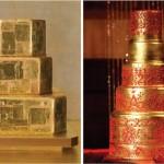 Золотой свадебный торт с узорами