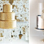Свадебный торт цвета белого и желтого золота