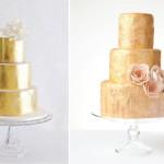 Золотой свадебный торт украшенный розами