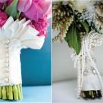 Ножка свадебного букета, украшенная жемчугом