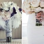 Ножка свадебного букета, перевязанная кружевами