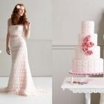 Платье невесты и торт розовых тонов