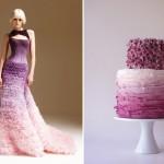 Платье невесты и торт в сереневых цветах