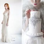 Платье невесты и торт украшенные серебром