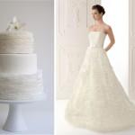 Платье невесты и торт с белыми кружевами