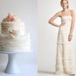 Платье невесты и торт белого цвета