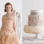 Платье невесты и торт в кремовых тонах