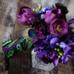 Перья павлина на ножке свадебного букета