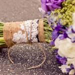 Ножка свадебного букета в мешковине