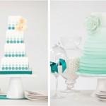 Свадебный торт бирюзовых оттенков
