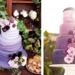 Свадебный торт в фиолетовом цвете