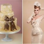 Торт и свадебное платье в кремовых оттенках