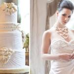 Торт и свадебное платье с жемчужинами