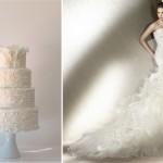 Торт и свадебное платье в воздушном стиле