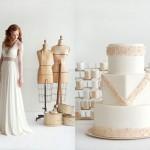 Торт и свадебное платье с бежевыми полосами