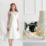 Торт и свадебное платье с декором из цветов