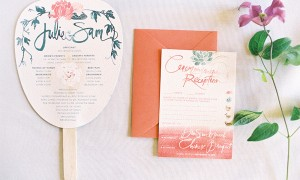 wedding-ceremony-program-favor-fan-invitation-pink-green