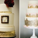 Свадебный торт с золотой рамочкой