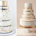 Золотые полосы на свадебных тортах