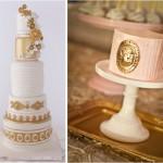 Золотая эмблема на свадебном торте