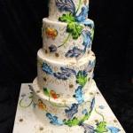 Цветочная роспись на свадебном торте