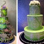 Зеленый свадебный торт из сказки
