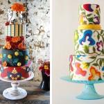 Разноцветные цветы на свадебных тортах