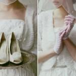 Свадебные туфли невесты  в сочетании с перчатками