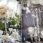 Розы и орхидеи в свадебном канделябре