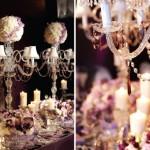 Свадебные канделябры с оттенками пурпурного