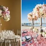 Цветная композиция из роз для пляжной свадьбы