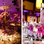 Пурпурные цветочные композиции на свадьбе