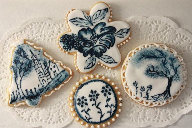 Сине белые букеты на свадьбу 16