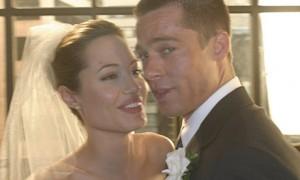 Анджелина Джоли и Брэд Питт в свадебной фотосессии