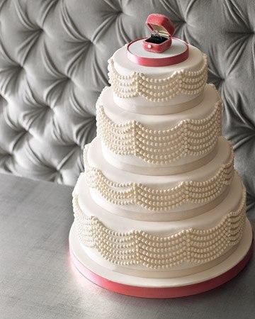 Свадебные торты с жемчугом