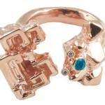 Перстень с бриллиантами и сапфиром