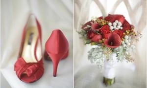 """Красные туфли и букет """"в тон"""""""